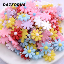 18mm 20Pcs/Lot Acrylic Sun Flower Charms Pendants For DIY Decoration Earrings Key Chains Fashion Jewelry Accessories