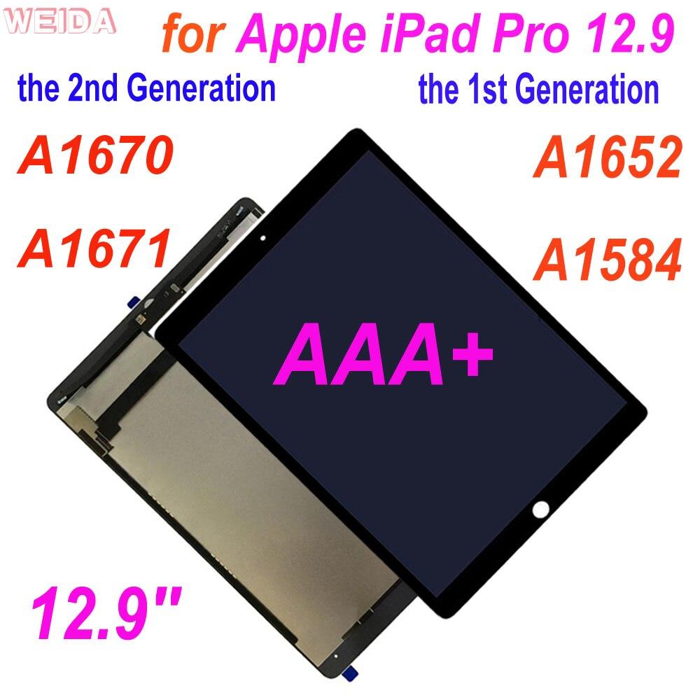 Aaa + lcd para 12.9 apple apple ipad pro 12.9 a1652 a1584/12.9 2nd 2nd 2nd a1670 a1671 tela de toque digitador assembléia para ipad pro 12.9 lcd