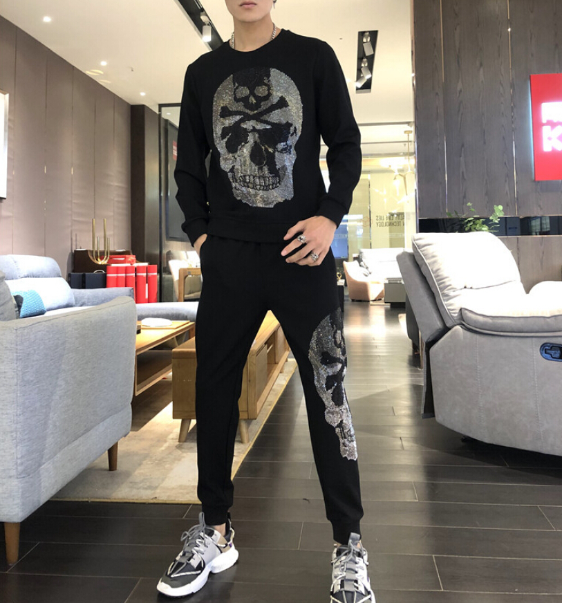 The New Tracksuit 2020  Hot Sale  Full Of Drills Men Set R Men's Casual Tracksuit Two Pieces Black