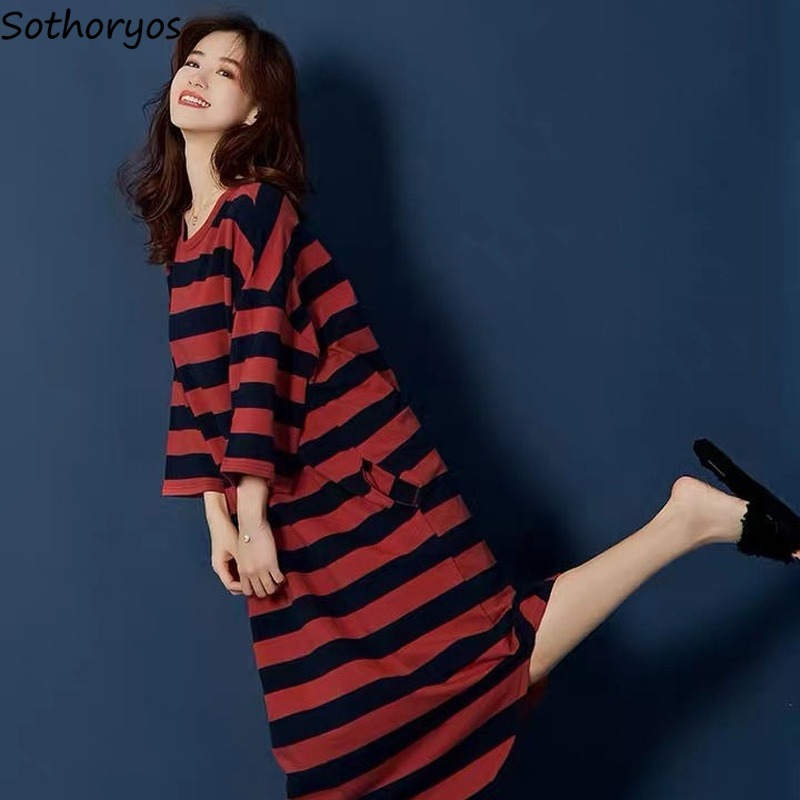 Nightgowns Women Summer Oversize 6XL Loose Homewear Striped Korean Style Womens Letter Printed Long Pyjamas Simple Casual Chic