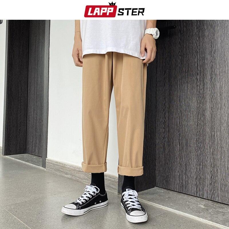 LAPPSTER Men Harajuku Straight Harem Pants 2020 Autumn Mens Korean Fashions Casual Loose Joggers Pants Male Khaki Sweatpants