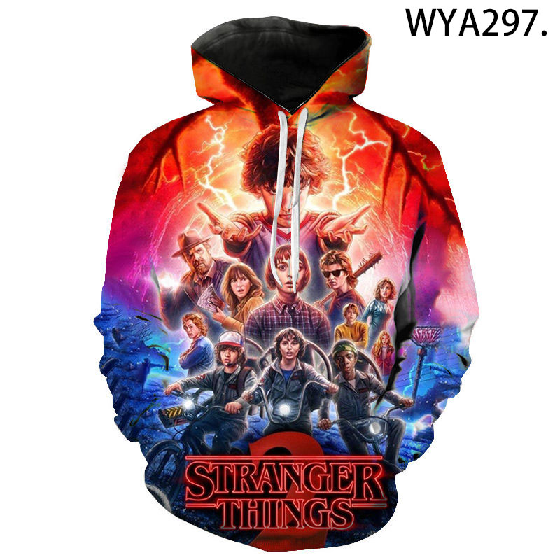 New Fashion Casual Hoodies Stranger Things Men Women Children 3D Printed Hoodies Sweatshirt Casual Sweatshirts Pullover Hooded