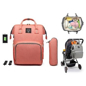 LEQUEEN USB Baby Diaper Bag Mummy Maternity Nappy Bag Mama Travel Backpack Bag Waterproof Baby Nappy Stroller Handbag Baby Care 1