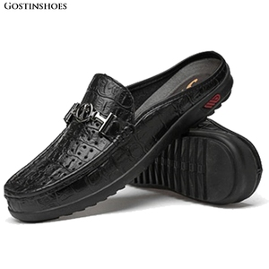 Image 1 - Moccasins Men Shoes Cowhide Social Hollow out Large Size Small Half Loafers