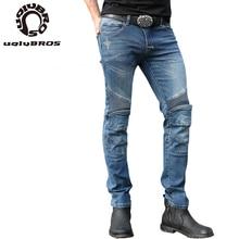 Uglybros נוצות ג ינס גברים ג ינס אופנועים 3 צבע אופנוע מכנסיים מגן moto מוטוקרוס מכנסיים גודל 28 44