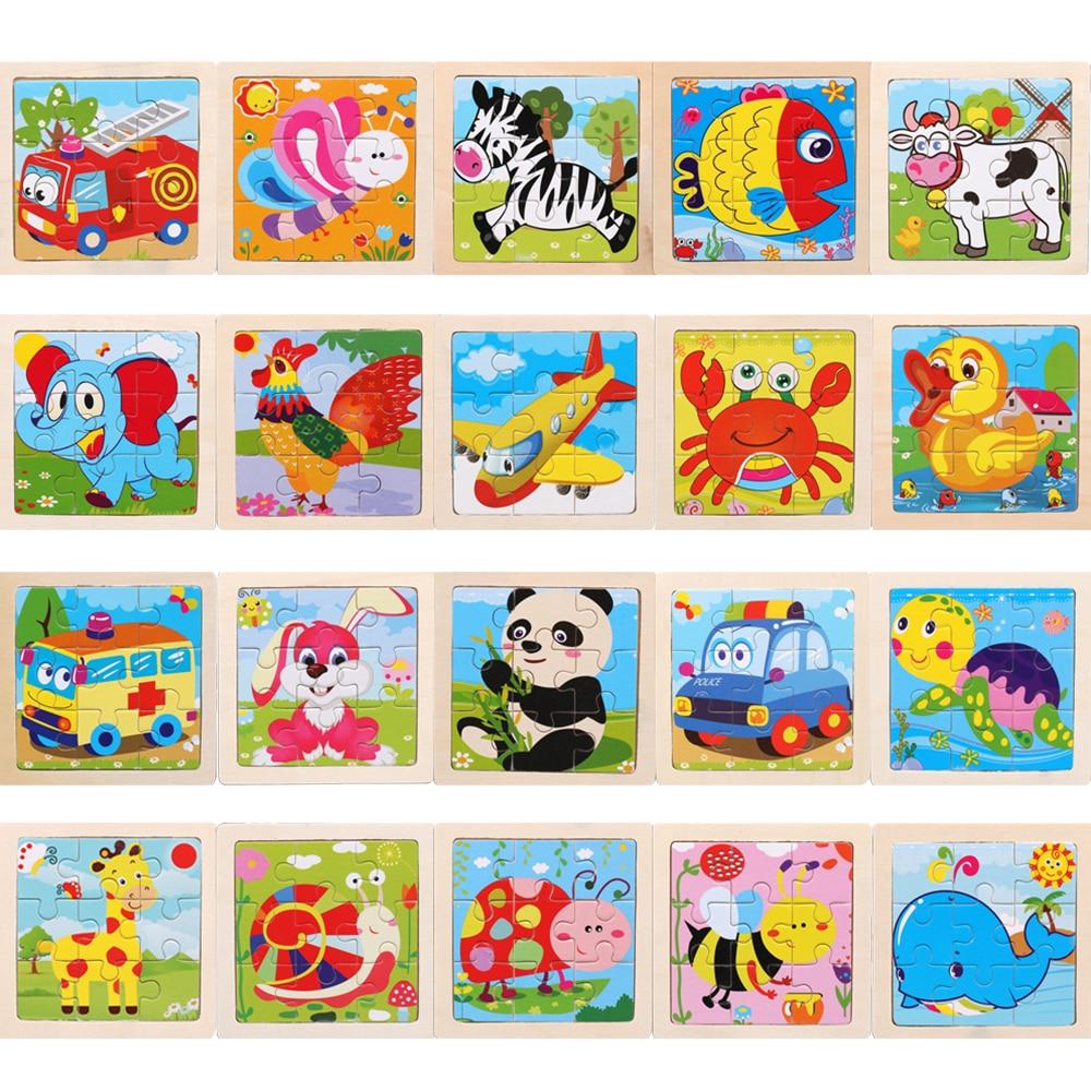 3D деревянные головоломки игрушки пазл мультфильм животных трафика головоломки для детей Учебные познавательные игрушки 9 штук 11x11 см подар...