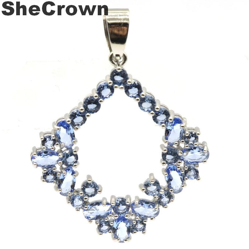 38x30mm SheCrown Created Rich Blue Violet Tanzanite Gift For Man Silver Pendant