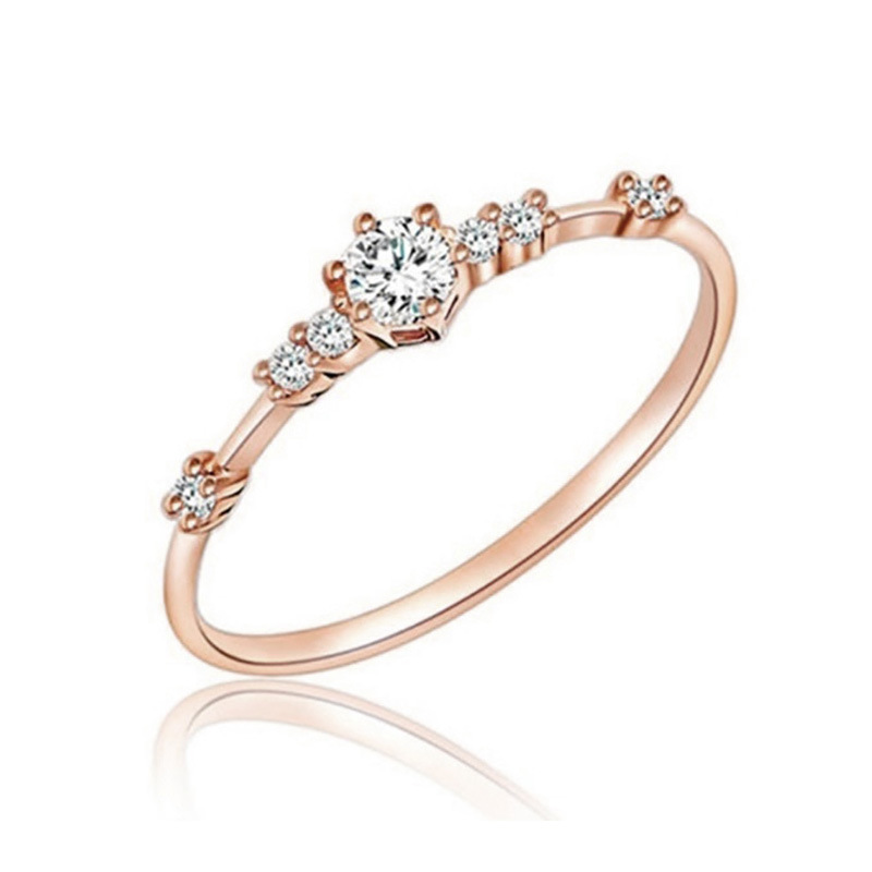 Femme Tri-colored Engagement Wedding Nouveau Argent /& Or Rose Bague Acier Inoxydable