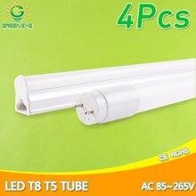 Lâmpada fluorescente integrada t8 do motorista do diodo emissor de luz t5 t8 do tubo do diodo emissor de luz de 4 pces 6w 30cm 10 60cm smd2835 ac 110v 220v 240v