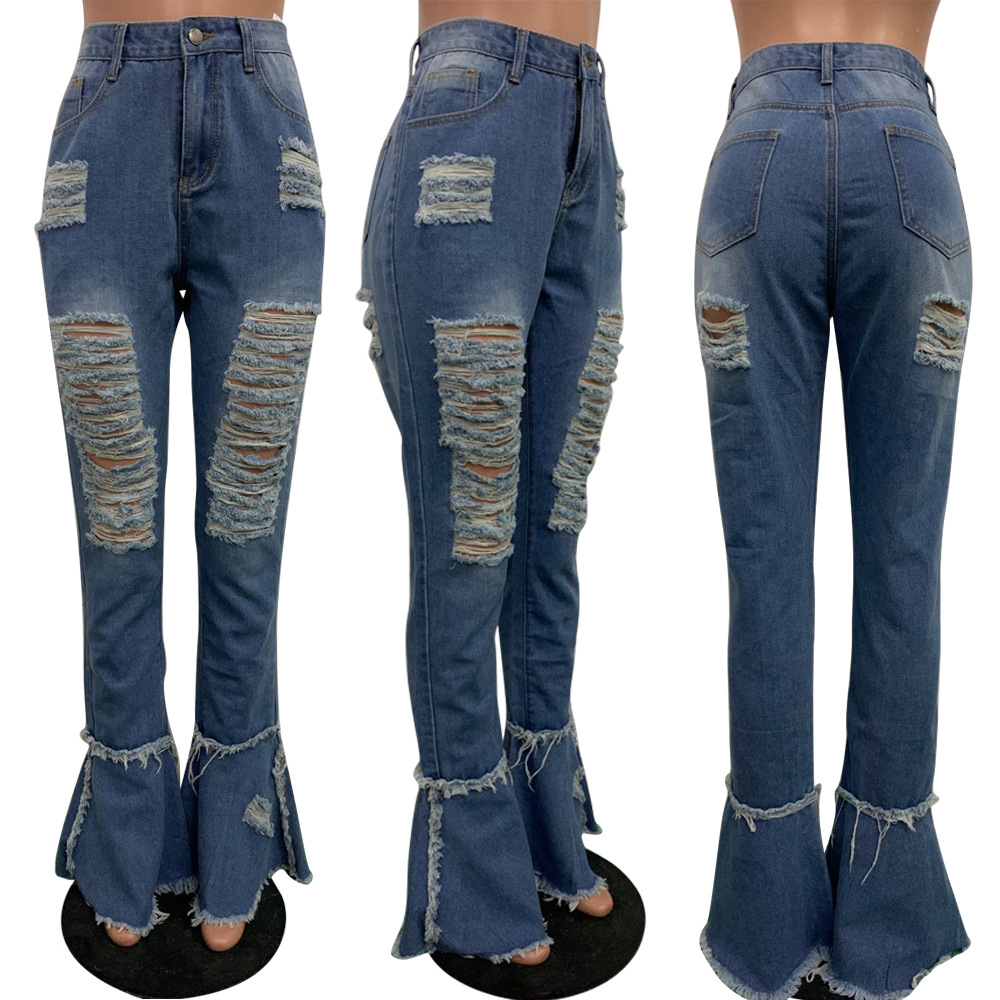 Echoine Ripped Jeans Outfits Pants Fringe Women Trousers Bodycon-Hole Flare Denim Ruffle