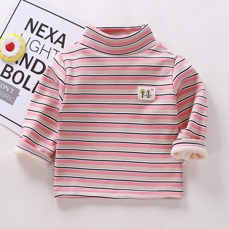 Autumn Winter Warm Solid Polyester Clothes Baby Boys Girls T Shirt Toddler Kids Long Sleeve T-shirt Children Underwear Clothing 6