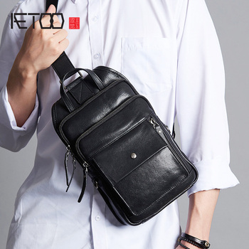AETOO Leather men's chest bag, men's head leather trend one-shoulder bag, casual stiletto bag aetoo leather men s chest bag head leather fashion casual shoulder bag trendmen s stiletto bag