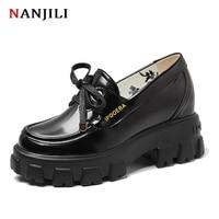 2020 women platform shoes High quality leather Wedges Round Toe fashion Spring Autumn luxury women Flat Platform