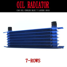 Universal 7 row blue oil cooler AN10 interface engine cooling radiator modification