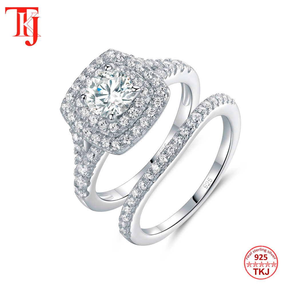 TKJ JEWELRY 100% Real 925 Sterling Silver 6.0mm Round Cut White AAA CZ Wedding Band Engagement Ring Set for Women 2pcs