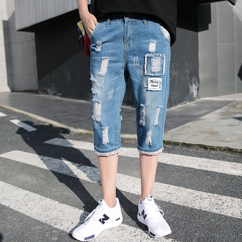 Knee-length Denim Shorts Men's With Holes Straight-Cut Korean-style Stretch Cotton Teenager Casual Korean Wave