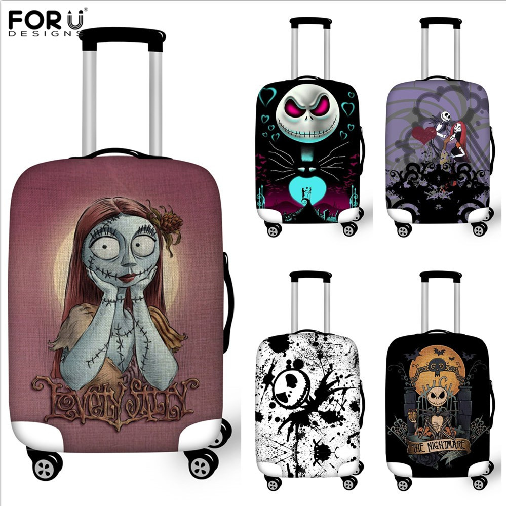 FORUDESIGNS Jack Skellington Brand Design Luggage Cover Protector Nightmare Before Christmas Print Travel Elastic Suitcase Cases