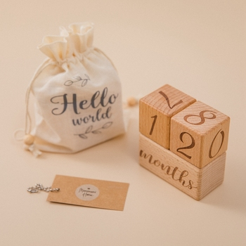 Baby Wood Square Milestone Block Photography Memorial Monthly Newborn Commemorative Card Number Photo Accessories