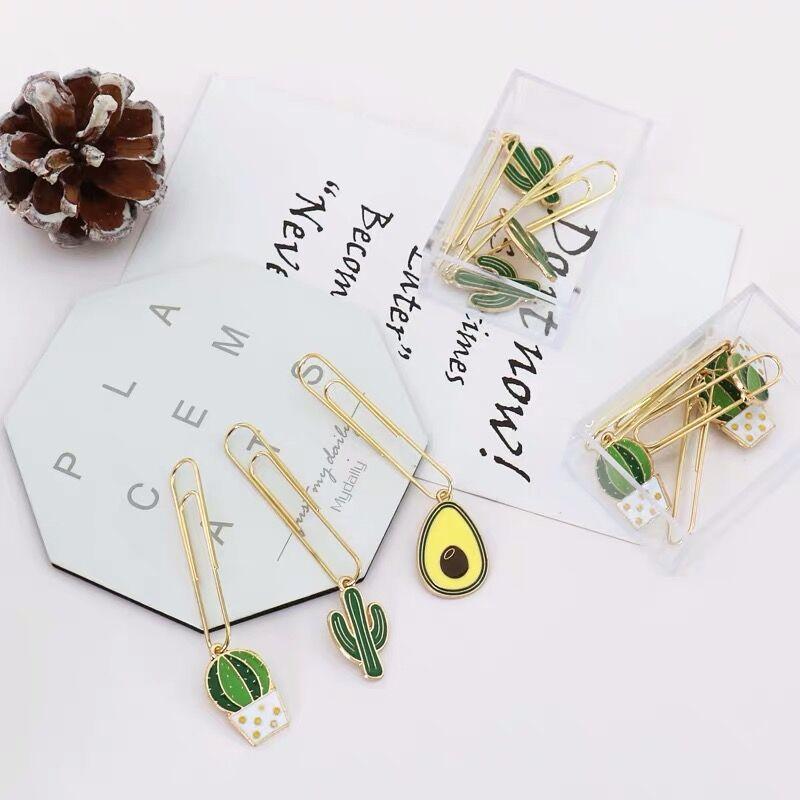 2020 New Arrival 5pcs/lot Kawaii Green Cactus Avocado Paper Clip Metal Bookmark Decorative File Memo Clips School Stationery
