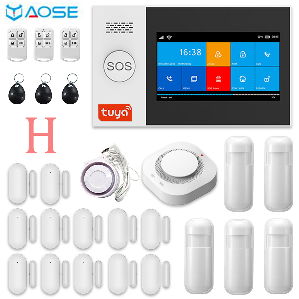 TUYA Wireless & Wired <font><b>WIFI</b></font> GSM GPRS <font><b>Burglar</b></font> Home Security <font><b>Alarm</b></font> System With Smoke detector kits image