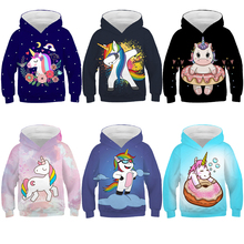 Girls Hoodies Unicorn Boys Jacket Sweatshirt Kids Clothes Autumn Cute Casual 3D Thin