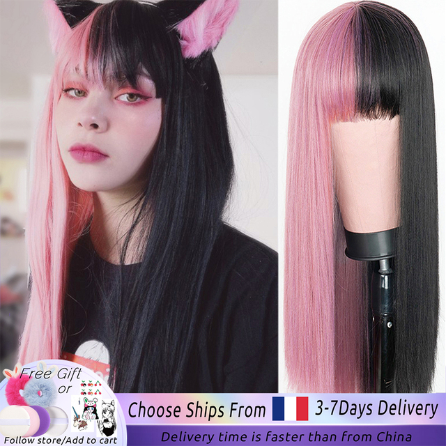 Pink and Black Wig Long Straight hair Cosplay Wig Two Tone Ombre Color Women Synthetic Hair Wigs 1