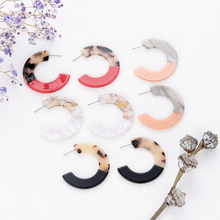 New Tortoiseshell Leopard C Splice Hoop Earrings for Women Acrylic Resin Hoops Jewelry Pendientes Aros Mujer Moda 2019