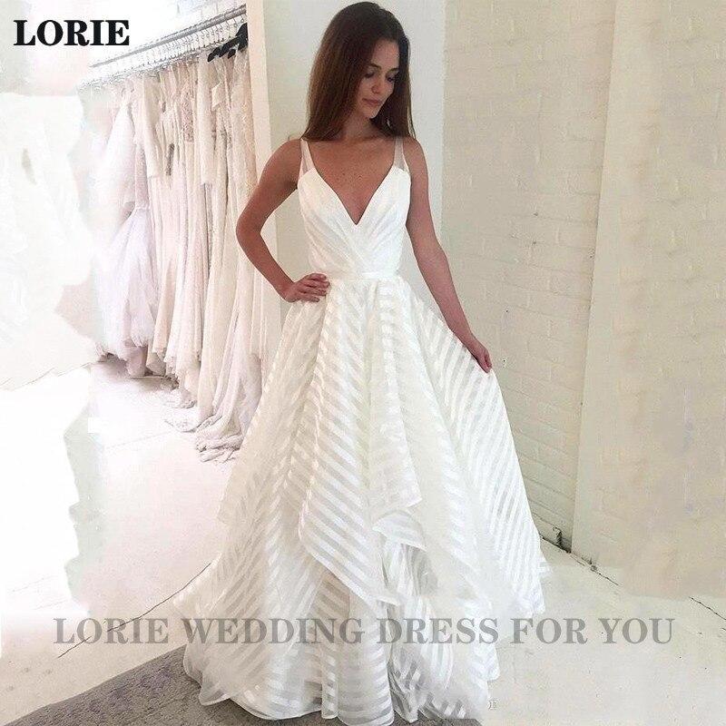 LORIE Boho Wedding Dress A Line V Neck White Ivory Princess Wedding Gowns Vestidos De Noiva Boho Bride Gowns