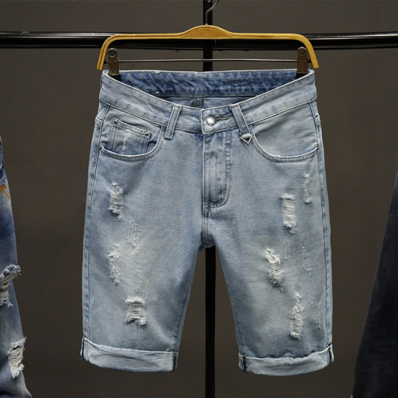 MEN'S Jeans Shorts 2019 Summer New Style Korean-style With Holes Straight-Cut Versitile Fashion Simple Shorts