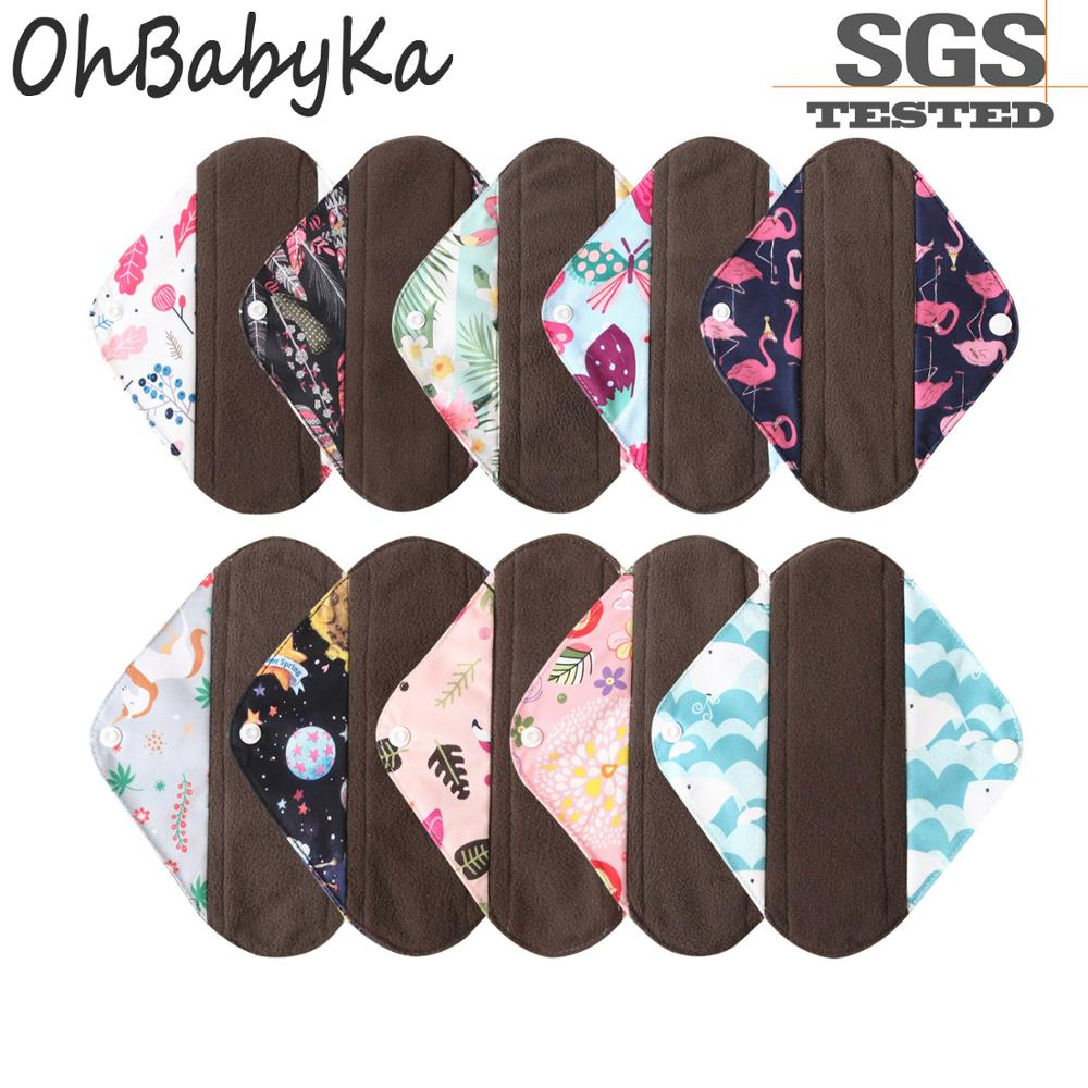 Ohbabyka Organic Bamboo Pads Washable Bamboo Charcoal Menstrual Pads Reusable Sanitary Towels Anti-bacterial Cloth Menstrual Pad