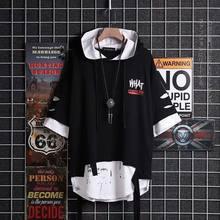 T-shirt à capuche avec ruban super Fire pour hommes, vêtement à manches courtes, style Hip Hop, faux deux pièces, streetbf, ample, à la mode