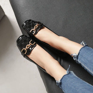 Image 5 - Spring New Fashion Women Flat Shoes Patent Leather Casual Metal Buckle Square Toe Boat Shoes for Office Ladies Zapatos Mujer