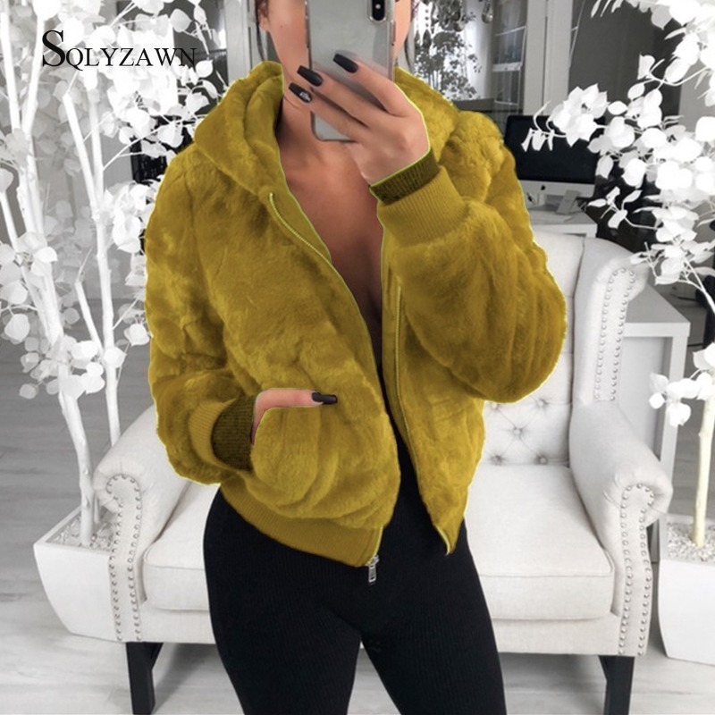 Winter Women Warm Faux Fur Hooded Teddy Bomber Jacket Korean Red Black Fashion Fluffy Coat Ladies Furry Clothes Plus Size 3XL