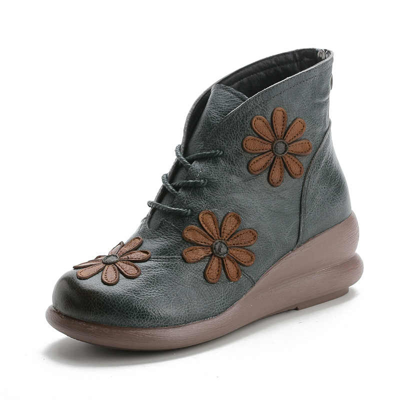 2019 Herfst En Winter Nieuwe Lederen Casual Vrouwen Schoenen Vintage Bloem Retro Handgemaakte Vrouwen Enkellaarsjes Met Bont booties