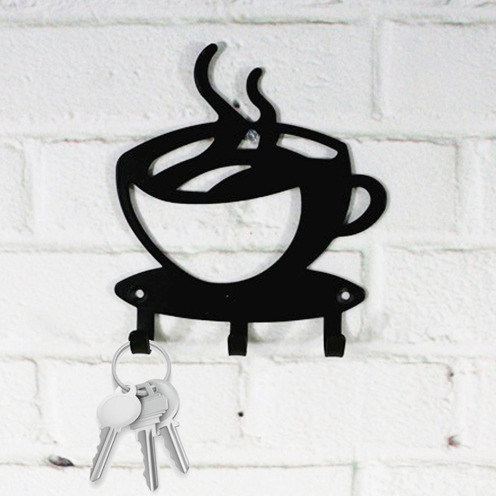 Metal 3-Hook Key Holder Rack Coffee Cup Hanger Wall Mount Home Office Organizer Decoration Hook Key Decoration Hook