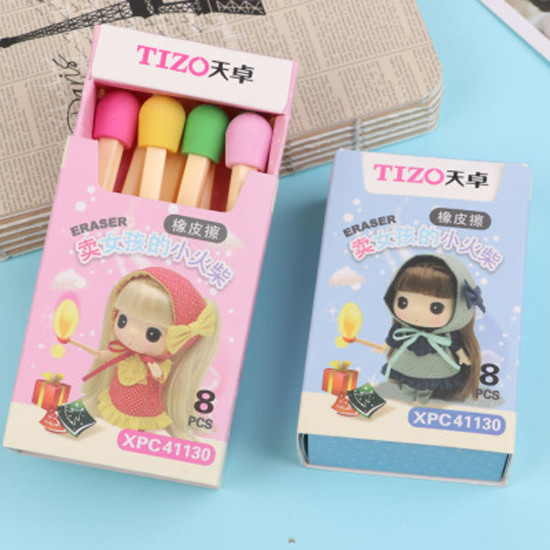 8 Pcs/set Kawaii Matches Shape Pencil Eraser Creative Colored Erasers For Kids Students Gift School Stationery Supply