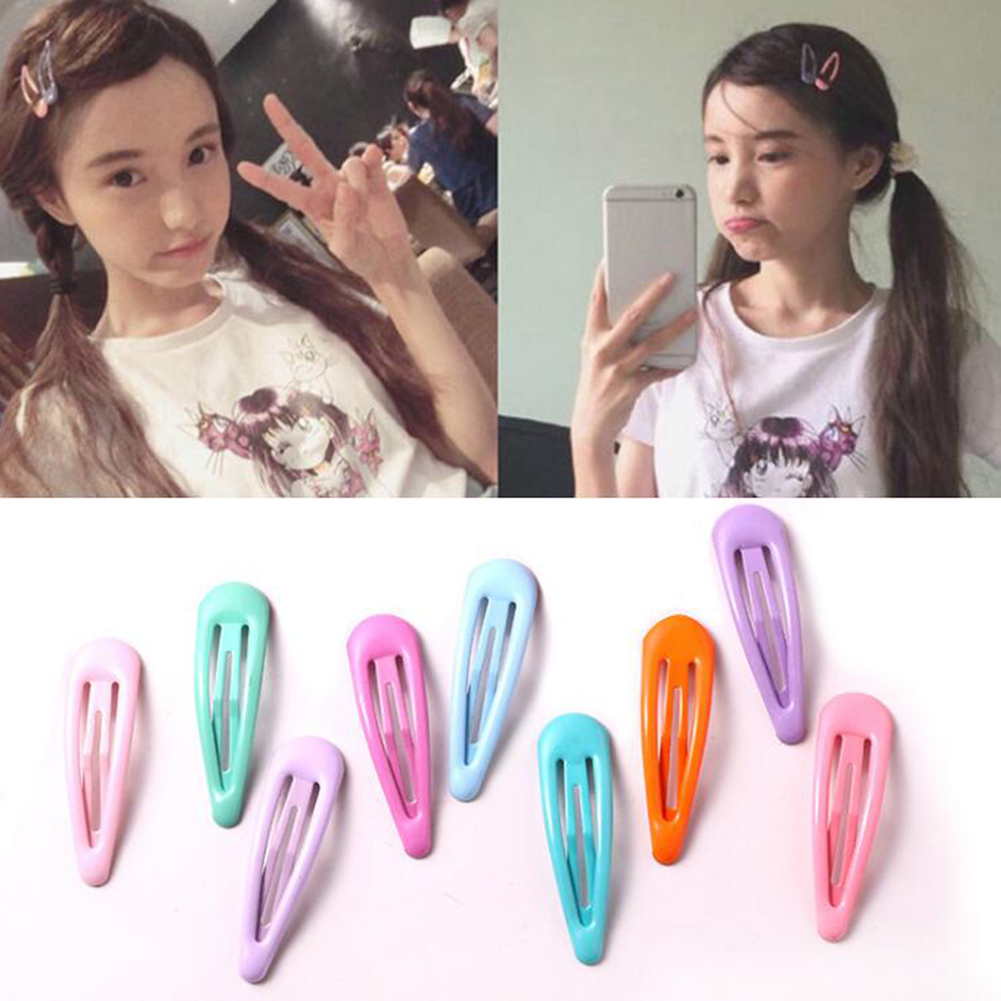 Snap Hair Clips For Hair Clip Pins BB Hairpins Candy  Color Metal Barrettes For Baby Children Women Girls Styling Accessories