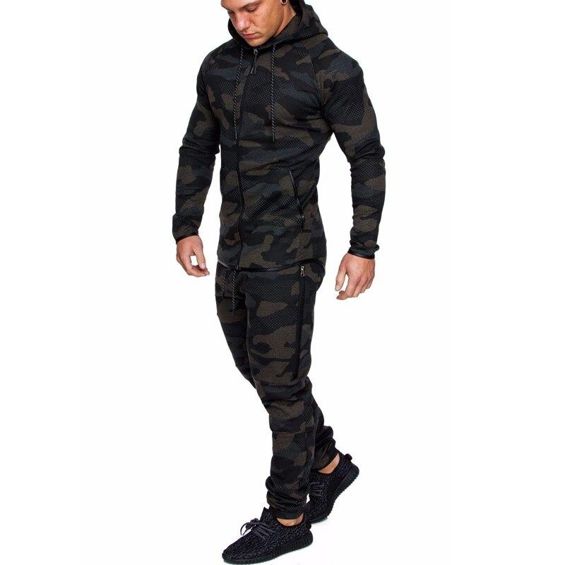 Men's Camouflage Fitness Colorblock Zipper Hat Running Cardigan+Sports Pants Long Sleeve Gym Sports Set Jogging Suit
