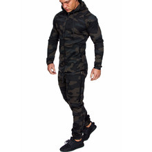 Men's Camouflage Fitness Colorblock Zipper Hat Running Cardigan+Sports Pants Long Sleeve Gym Sports Set Jogging Suit(China)
