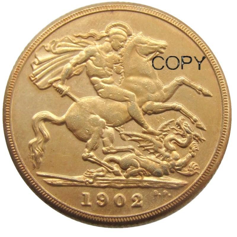Crown Edward VII 1902 2 ֆունտ (2SLD) Ոսկե plated Copy - Տնային դեկոր - Լուսանկար 2