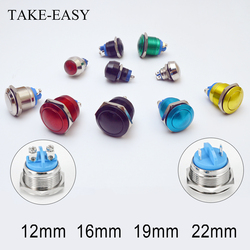TAKE-EASY Screw Electronic Smart Switch Metal Pressure Waterproof Momentary Fixing Push Button 12v 240v Switches 12/16/19/22mm