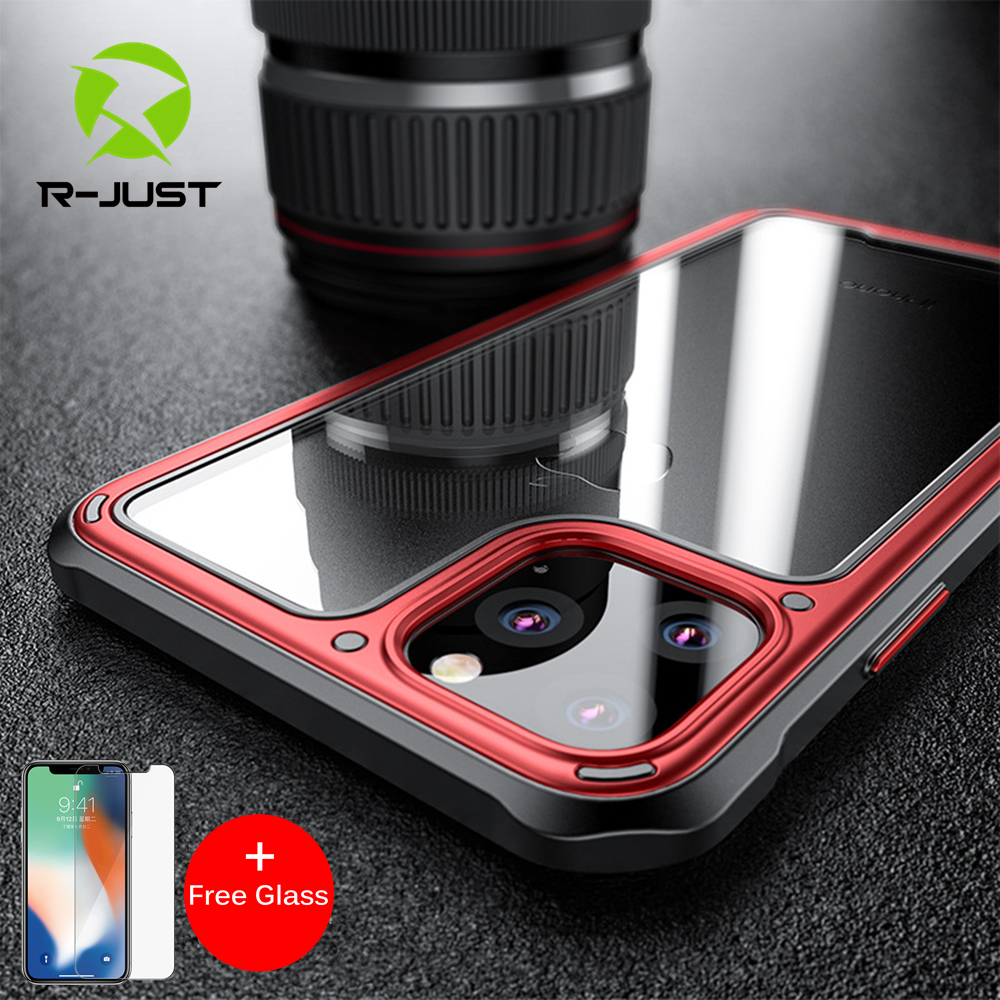 Luxury Shockproof Silicone Airbag Transparent Case For iPhone 11 Pro Max TPU Bumper Cases Hard PC Clear back Cover+Free Glass