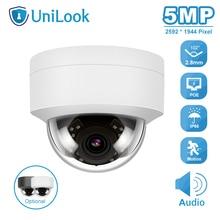 Unilook 5mp dome poe ip câmera de segurança ao ar livre buid in mic casa cctv câmera ip66 ir 30m hikvision compatível onvif h.265 p2p