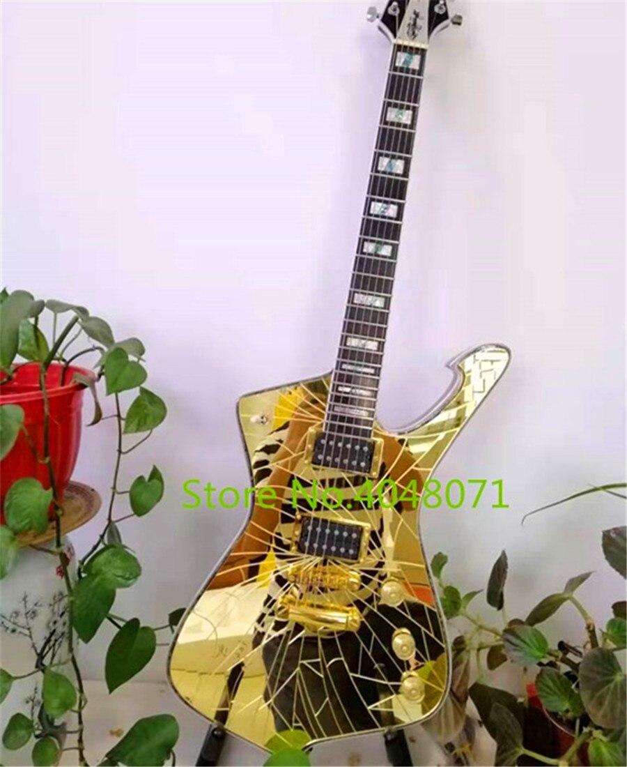 Libre de flete, púrpura, oro, espejo natural grieta Paul Stanley 6 cuerdas guitarra eléctrica/instrumento de guitarra china, personalizable