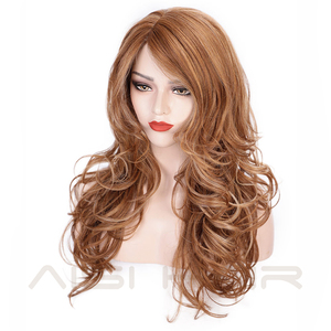 Image 3 - AISI HAIR Long Wavy Synthetic Wig Light Brown Mixed Blonde Wigs for Black Women Side Part Natural Wig Heat Resistant Hair