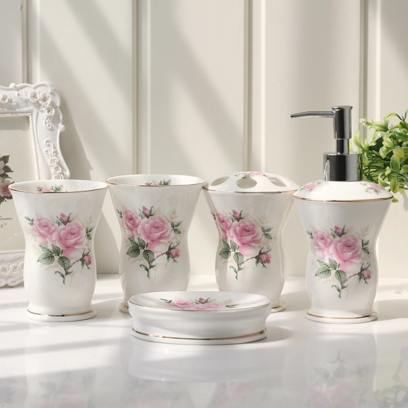 Ceramic sanitary ware five-piece suit bathroom supplies wash mug European wedding dental gear