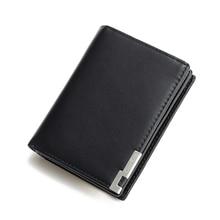 CarrKen Men's Short Leather Wallet Korean Casual Vertical Organ Card Holder Multi-Card Driver License Wallet