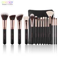Docolor 11/15 pçs pincéis de maquiagem pó fundação sombra compõem escovas conjunto escovas cosméticos macio cabelo sintético