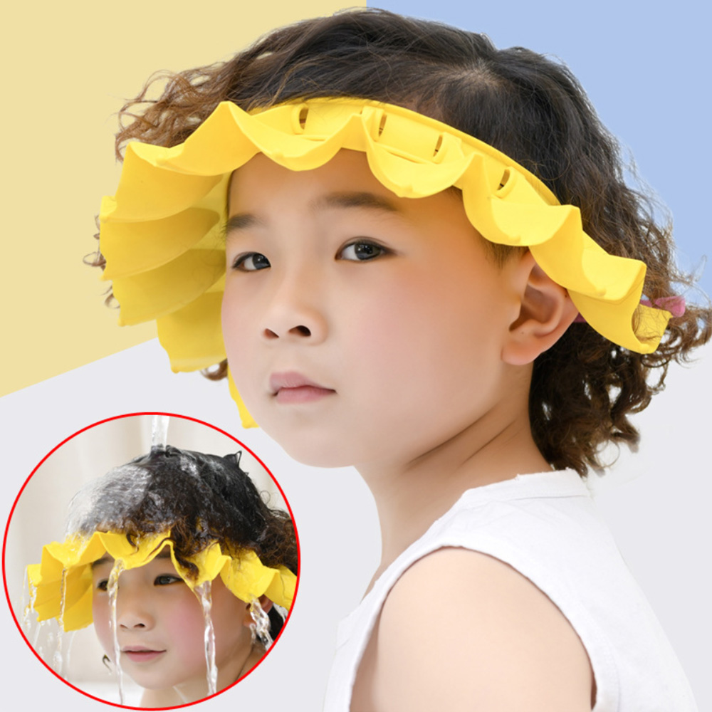 Kids Safe Shampoo Shower Bathing Cap Bath Protect Adjustable Soft Cap For Baby Wash Hair Shield Children Bathing Hat