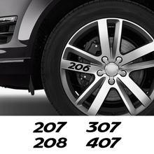 4 Uds para Peugeot RCZ Rifter 108, 206, 207, 208, 307, 308, 407, 3008 llanta de rueda de coche, pegatinas de vinilo impermeable de PVC calcomanías Auto Accesorios